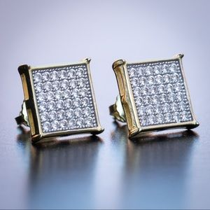 Square CZ Iced Gold Hip Hop Stud Earrings